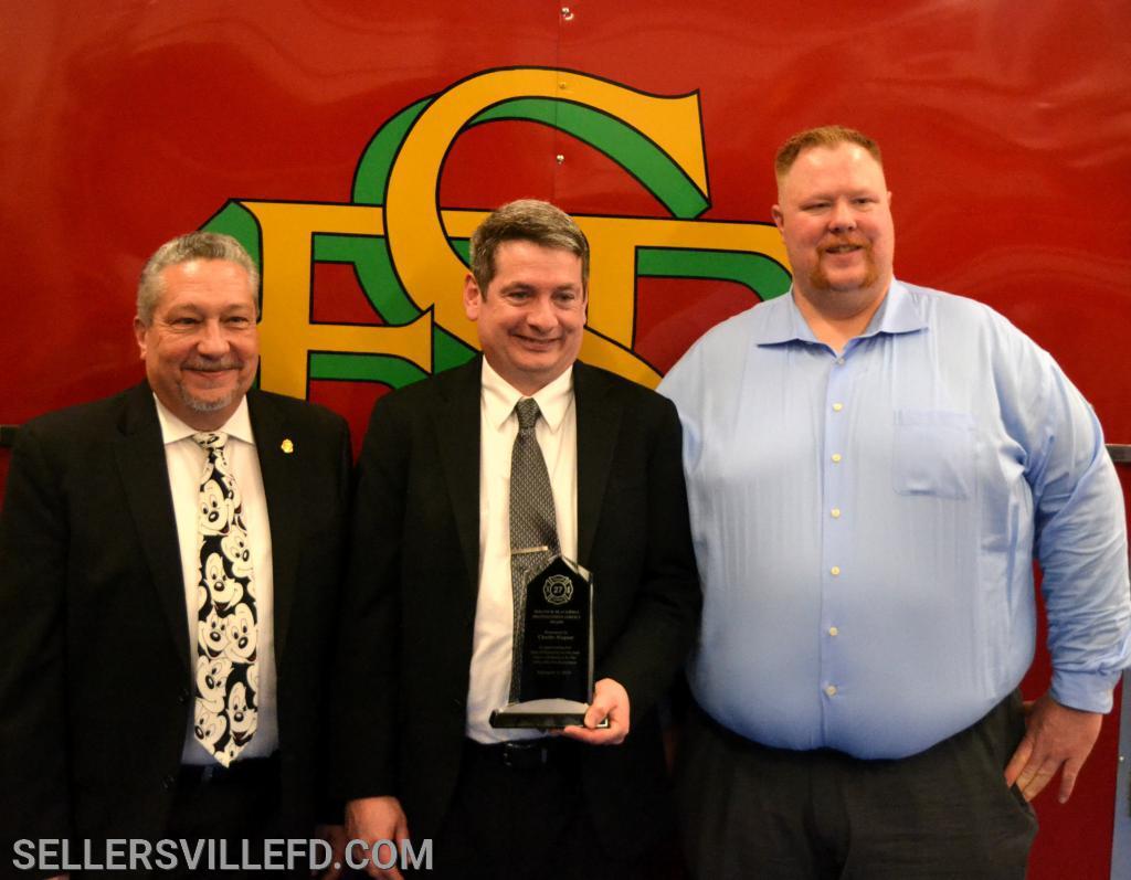 SFD President Greg Castelli [L], Blackwell Award winner, Chuck Wagner [C], SFD Chief Kurt Wagner [R]